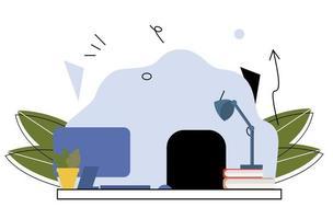 ein Arbeitsplatz mit Laptop, Lampe, Sessel, Büchern. abstrakter Hintergrund, Arbeitsplatz. flache einzigartige Illustration vektor