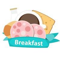 bester Frühstücksikonenhintergrund in der modernen flachen Artvektorillusion vektor