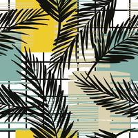 Seamless exotiskt mönster med palm och geometriska element.