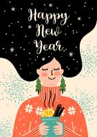 Weihnachten und Happy New Year Illustration. Modischer Retro-Stil.