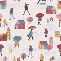 Vektorabbildung der Stadt im Regen. Herbststimmung.
