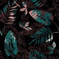 Eklektiskt sömlöst mönster med sprayfärg, barock prydnad och löv.