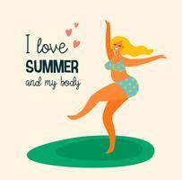 Körper positiv Happy plus size Mädchen tanzen.