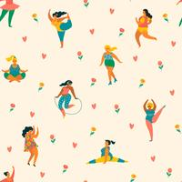 Lyckliga plusstorlekflickor och aktiv livsstil. Vektor sömlöst mönster.