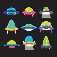 UFO-Raumschiff-Icon-Vorlagen-Set vektor