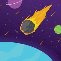 Meteor, der über den Weltraum fliegt vektor