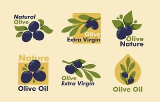 Sammlung von Olivenzweigen Etikett vektor