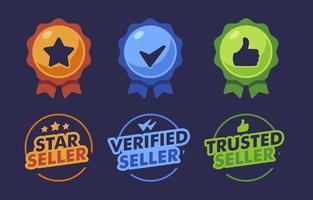 vertrauenswürdige, verifizierte Abzeichen-Etikettensammlung vektor