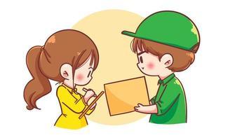 Zusteller mit Paketkasten geben der Karikaturkunstillustration des Frauenkunden vektor