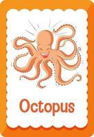 Vokabelkarte mit Wort Oktopus vektor