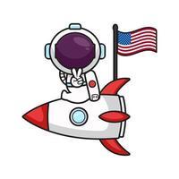 Süßer Astronaut sitzt auf der Rakete und feiert Amerika Unabhängigkeitstag Cartoon-Symbol Vektor-Illustration vektor