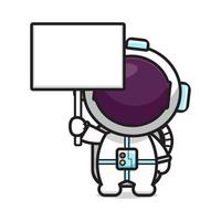 süßer Astronaut mit leerer Tafel Cartoon-Symbol Vektor-Illustration vektor