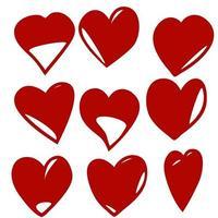rotes Herz Icons Set isoliert auf weißem Hintergrund vektor