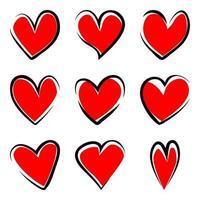 Satz handgezeichnete Herzen isoliert auf weißem Hintergrund vektor