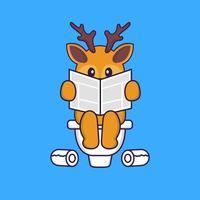 Süßes Reh, das auf Toilette kackt und Zeitung liest. Tierkarikaturkonzept isoliert. kann für T-Shirt, Grußkarte, Einladungskarte oder Maskottchen verwendet werden. flacher Cartoon-Stil vektor