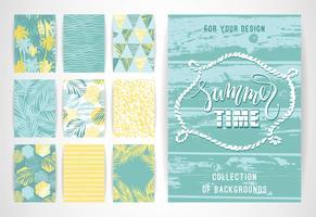Sats med sommarbakgrundsmallar. Designelement för affisch, broschyr, kort, omslag, flygblad, webben och andra användare. vektor