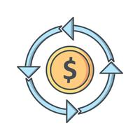 Geldfluss-Vektor-Symbol