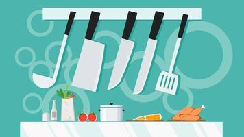 Küchenutensilien mit Messerset Ausrüstung hängen. Kochen mit Regal-Banner-Hintergrund-Konzept. flaches Design-Vektor-Illustration. vektor