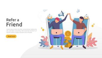 Empfehlen Sie eine Freundschaftsstrategie und ein Affiliate-Marketing-Konzept. Menschen Charakter teilen Empfehlung Geschäftspartnerschaft und Geld verdienen. Vorlage für Web-Landingpage, Banner, Poster, Printmedien vektor