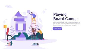 Menschen, die zusammen Brett- oder Tischspiele spielen. Illustrationsvorlage für Web-Landingpage, Banner, Präsentation, Social, Poster, Anzeige, Werbung oder Printmedien vektor