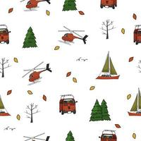 buntes nahtloses Muster von Hubschrauber, Yacht, Reisebus, Bäumen, Weihnachtsbäumen, Blättern auf weißem Hintergrund vektor