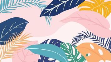 tropisk skog art deco tapet. blommönster med exotiska blommor och blad, split-leaf philodendron växt, monstera växt, djungel växter konturteckningar på trendig bakgrund. vektor illustration.