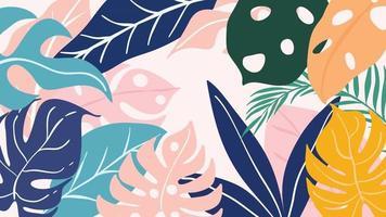 Tropenwald-Art-Deco-Tapete. Blumenmuster mit exotischen Blumen und Blättern, geteilte Philodendron-Pflanze, Monstera-Pflanze, Dschungelpflanzen-Linienkunst auf trendigem Hintergrund. Vektor-Illustration. vektor