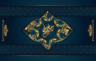 Luxusstil mit arabischer Kalligraphie. Luxus goldenes Mandala auf dunkelblauem Hintergrund für Ramadan Mubarak vektor