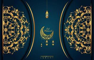 Ramadan Kareem im Luxusstil mit arabischer Kalligraphie. luxuriöses goldenes Mandala auf dunkelblauem Hintergrund vektor