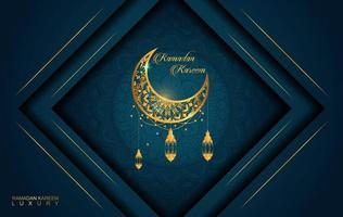Ramadan Kareem im Luxusstil mit arabischer Kalligraphie. Luxus goldenes Mandala auf dunkelblauem Hintergrund für Ramadan Mubarak vektor