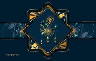 Ramadan Kareem im Luxusstil mit arabischer Kalligraphie. Luxus-Mandala auf dunkelblauem Hintergrund für Ramadan Mubarak vektor