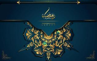 Ramadan Kareem im Luxusstil mit arabischer Kalligraphie. vektor