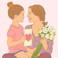 barn dotter gratulerar mamma och ger en bukett blommor vektor