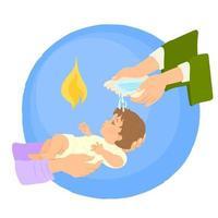 Neugeborene Taufe durch Wasser mit den Händen des Priesters vektor