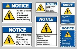 Beachten Sie die Gefahr eines Stromschlags Symbolzeichen auf weißem Hintergrund isolieren vektor