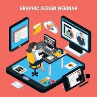 Grafikdesign-Webinar-Konzept-Vektor-Illustration vektor