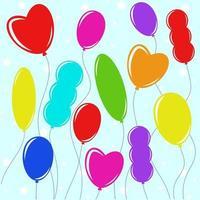 Satz flacher farbiger, isolierter Ballons auf der Wäscheleine. einfache Zeichnung auf blauem Hintergrund vektor