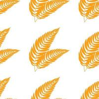 Farbnahtloses Muster von flachen abstrakten isolierten orangefarbenen Blättern, die sich in verschiedene Richtungen biegen vektor