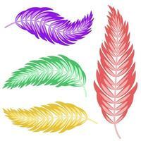 Satz flacher, isolierter, abstrakter Farbsilhouetten der Blätter, die sich in verschiedene Richtungen auf weißem Hintergrund krümmen vektor