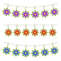 Satz von flachen farbigen isolierten Blumengirlanden. geeignet für Gestaltung. vektor