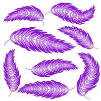 Satz flacher isolierter abstrakter lila Silhouetten der Blätter, die sich in verschiedene Richtungen biegen vektor
