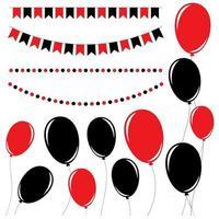 Satz flache schwarze und rote isolierte Silhouetten von Ballons auf Seilen und Girlanden von Flaggen. vektor