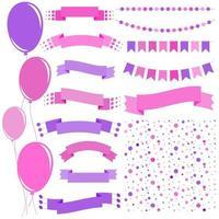 Satz flacher rosa und lila isolierter Ballons an Seilen und Girlanden von Flaggen eine Reihe von Bändern von Bannern in verschiedenen Formen. Hintergrund in Form von Konfetti. vektor