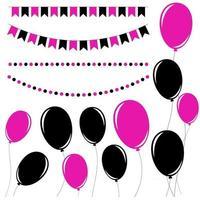 Set aus flachen schwarzen und rosa isolierten Silhouetten von Ballons auf Seilen und Girlanden von Flaggen. vektor