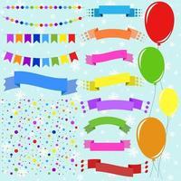 Satz flacher farbiger, isolierter Ballons an Seilen und Girlanden von Flaggen. eine Reihe von Bändern von Bannern in verschiedenen Formen. Hintergrund in Form von Konfetti. vektor
