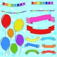 Satz von flachen farbigen isolierten Ballons an Seilen. Set Girlanden und Bannerbänder vektor