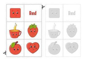 Farben lernen für Kinder. schneiden und spielen. süße Zeichentrickfiguren. Bilderset für Kinder im Vorschulalter. Arbeitsblatt Bildung. Vektor-Illustration. vektor