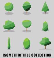 Sammlung isometrischer Baum- und Strauch-flaches Design. vektor