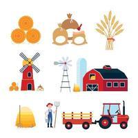 landwirtschaftliche Ernteausrüstung Landwirtschaft eingestellt. rote Scheune, Silo, Windmühle, Mühle, Traktor mit Sattelauflieger, Heuballen, Mehlsäcken und Weizenähren flache Vektorgrafik auf Hintergrund isoliert. vektor