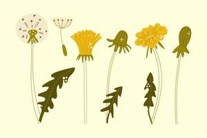 handgezeichnete reihe von löwenzahnblumen. flache Abbildung. vektor